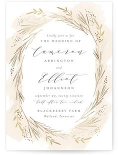 Wheat Field Foil-Pressed Wedding Invitations - Barn Wedding Invitations - Rustic Wedding Invitations