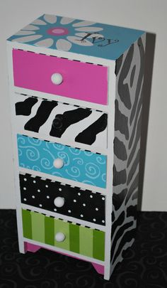 The Decorative Paintbrush, Designs by Mary Mollica: Jewelry Boxes - Site Title Funky Painted Furniture, Furniture Wax, Painted Chairs, Repurposed Furniture, Furniture Makeover, Lounge Furniture, Painting Furniture, Painted Jewelry Boxes, Painted Boxes
