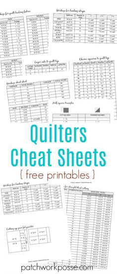 Having sewing printables cheat sheets allow you to do sewing properly. The goal of having the sheet is to let you sew properly without going back and forth to your smartphone or laptop and check a tutorial.Free printable charm squares and layer cake quilt Quilting Tools, Quilting Tutorials, Quilting Designs, Quilting Ideas, Patchwork Quilting, Quilting Projects, Crazy Patchwork, Quilting Rulers, Art Quilting