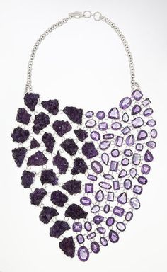 "Charles Albert -USA  Amethyst & Amethyst   Geode Necklace   ""Charles Albert has been designing unique Fine Sterling Silver Jewelry since 1990. His use of unusual gemstones, fossils and minerals sets him apart from other jewelry designers. """