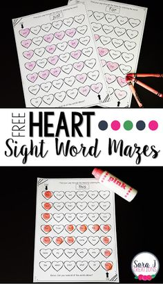 Heart Sight Word Mazes   Make practicing sight words a little more fun by making it seasonal! Theses sight word mazes target 5 sight words and can be used with crayons/colored pencils or dot markers. You could even use them at a literacy center and make them reusable by laminating and then using mini erasers to cover the words through the mazes. So easy but great practice!  Click HERE to grab your sight word mazes.  free sight words free valentine's day literacy PreK-2 Sara J Creations sight…