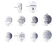 40 Pieces Hand Made Lettering Mini Palm Charm Pendant DIY Jewelry Findings