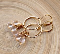 Gold filled earrings with Rose Quartz. Organic shape gold hoop earrings. Wedding Rose Quartz and Gold earrings. Bridal gift, Graduation 2018