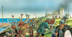 Viking raid on a monastery.  Click on image to ENLARGE,