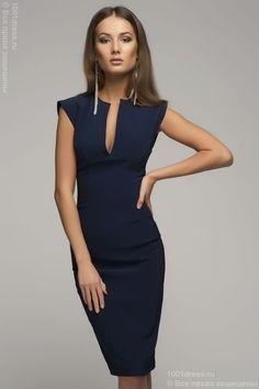 Купить синее платье-футляр без рукавов с V-образным вырезом недорого в интернет-магазине 1001DRESS