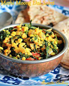Methi Moong Dal Sabzi, Vendaya Keerai Curry, Fenugreek Leaves Curry,Side Dish for Rotis