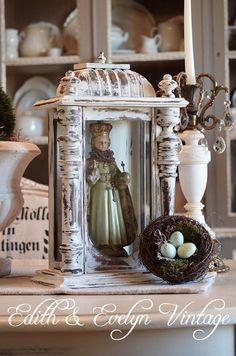 Shabby Vintage Shrine Case Display by edithandevelyn on Etsy
