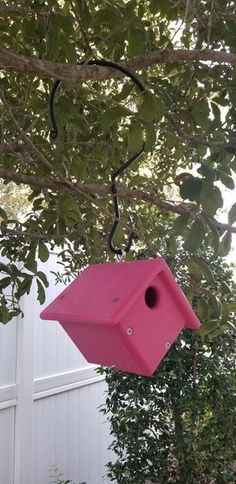 Amish Pretty Pink Birdhouse Pink poly brightens your backyard with this lovely birdhouse. Easy open for an easy clean. Ultra durable and made to last. #birdhouse #pinkbirdhouse