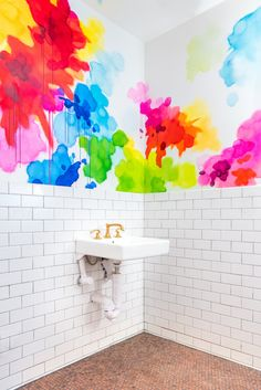 watercolor bathroom walls