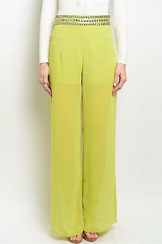 These one-of-a-kind chartreuse pants features a jeweled waistband and partial lining.   Jeweled Palazzo Pants by the clothing company. Clothing - Bottoms - Pants & Leggings - Flare & Wide Leg Columbus, Ohio