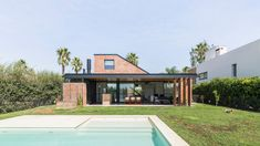 Image 1 of 42 from gallery of House in San Marino Funes Hills / Mariel Suárez. Photograph by Ramiro Sosa Floor Plan Sketch, Patio Design, House Design, Brick House Plans, Steel Framing, Casa Clean, Ground Floor Plan, Outdoor Pergola, Small Places