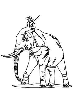 Le cornac et son bel éléphant, à colorier