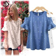 Women's Plus Size Off-Shoulder Blouse Loose Tops Short-Sleeved Tunic T-Shirt Clothes For Pregnant Women, Clothes For Women, Off Shoulder T Shirt, Shoulder Tops, Cold Shoulder, Shoulder Length, Plus Size Kleidung, Loose Tops, Plus Size Blouses