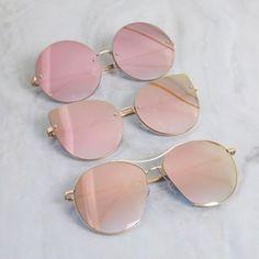 Reflective Sunglasses, Stylish Sunglasses, Sunglasses Women, Pink Sunglasses, Girls Tumblrs, Lunette Style, Cool Glasses, Fashion Eye Glasses, Stylish Jewelry