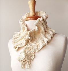 Victoriana Knit Scarflette - original design by Elena Rosenberg (Tickled Pink Knits http://www.ElenaRosenberg.com #knitting #fashion #ivory #white #winter #craft #spring #handmade #luxury