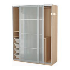 Ikea kleiderschrank schiebetüren spiegel  PAX Kleiderschrank, schwarzbraun, Sekken Frostglas 200x66x236 cm ...