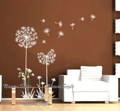 wall decal wall decal nursery flower vinyl wall decal dandelion wall stickers wall decal floral wall decal baby white decal-Dandelions. $33.00, via Etsy.