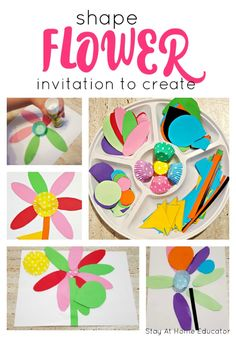Spring Theme, Spring Art, Montessori, Shape Crafts, Craft Projects For Kids, Craft Ideas, Art Projects, Flower Invitation, Spring Activities