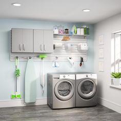 Garage Laundry, Basement Laundry, Laundry Room Organization, Small Laundry, Laundry Room Design, Laundry Drying, Laundry Closet, Storage Sets, Small Storage