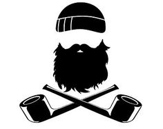 Beard & Crossed Pipes Vinyl Decal available in several colors
