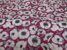 Red & Grey Poppy Heads Floral 100% Viscose Summer Printed Dress Fabric.