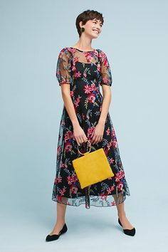 Slide View: 1: Lucy Embroidered Midi Dress