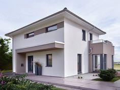 Stadtvilla modern - Einfamilienhaus Concept M 145 von Bien Zenker - Fertighaus bauen Haus Eingang mit Vordach Erker Fassade grau weiß Putz - HausbauDirekt.de