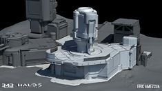 ArtStation - Halo 5: Guardians - Prospect, Erik Amezcua 343 Industries, Cartoon House, Future Buildings, Sci Fi Environment, Halo 5, Building Concept, Low Poly Models, Mechanical Design, Game Design