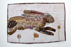 Unframed appliqued and hand embroidered hare on by MandyPattullo,