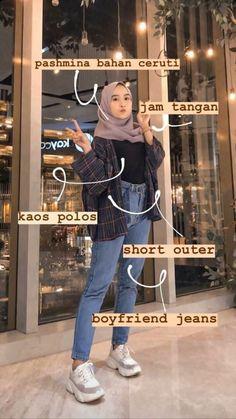 Hijab Jeans, Ootd Hijab, Hijab Chic, Casual Hijab Outfit, Casual Outfits, Girl Outfits, Fashion Outfits, Street Hijab Fashion, Muslim Fashion
