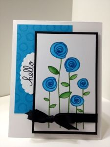 Karen's Kraft Room: Hello with Copic Colored Flowers with a little touch of sparkle