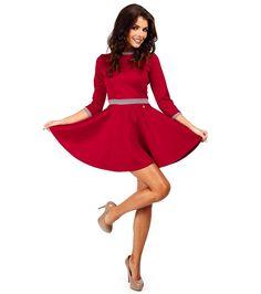 Rochie elegantă în roşu cu vipuşti în gri - Haine de damă - Rochii roșii cu design elegant - Rochii