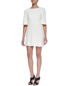 Maely Textured Bell-Sleeve Dress by Alice + Olivia at Neiman Marcus.