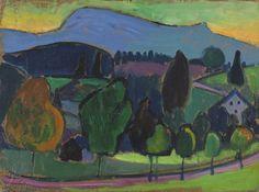 lawrenceleemagnuson:  Gabriele Münter (Germany 1877-1962) Murnau Der blaue Berg (1908) oil on cardboard 25,7 x 34,7 cm