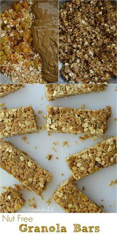 No-Bake Homemade Nut Free Granola Bars : Cinnamon Raisin : Healthy Kid Snack : Gluten Free Recipe