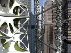 Skyscaper plan is the apex of green building design Green Architecture, Futuristic Architecture, Amazing Architecture, Architecture Design, Green Tower, Eco City, Future Buildings, City Farm, Vertical Farming