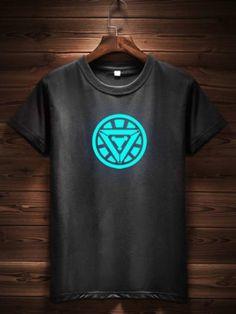 Glow In The Dark Black T-Shirt - Iron Man   Only on ravishing.wooplr.com   Best t-shirts Online Men's Shirts And Tops, Cool T Shirts, Marvel Shirt, Geek Fashion, Printed Tees, Tshirts Online, Iron Man, Men Casual, Glow