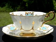 Royal Albert Avon Shaped Teacup and Saucer, High Handled, Wide Mouthed Tea Cup Made in England J-1633