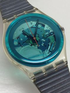 Vintage Swatch Watch Turquoise Bay 1987 by ThatIsSoFunny Vintage Swatch Watch, Back To The 80's, Turquoise, My Precious, Wood Watch, Summer Collection, Skeleton, Two By Two, Watches