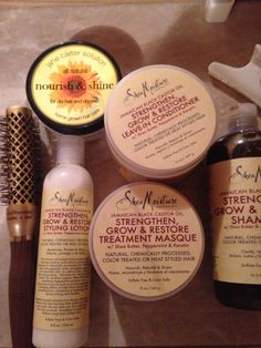 Short Natural Hair must haves for manageability. Shea Moisture Jamaican Black Castor Oil complete line(Not all items are Pictures) Olivia Garden brush for blow outs, Jane Carter Solutions for Shine.
