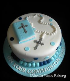 Communion and Confirmation Cakes here at Vanilla Bean Bakery Boys First Communion Cakes, Boy Communion Cake, Comunion Cakes, Bolo Harry Potter, Bible Cake, Christening Cake Boy, Religious Cakes, Confirmation Cakes, Occasion Cakes