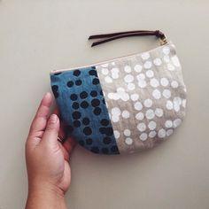 block print pocket pouch