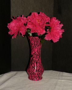 Pink Zebra Print Duct Tape Vase by BlackSheepDreams on Etsy, $15.00