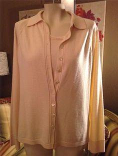 600-Armani-Collezioni-Yellow-Cashmere-Cardigan-Sweater-Twin-Set-Size-12