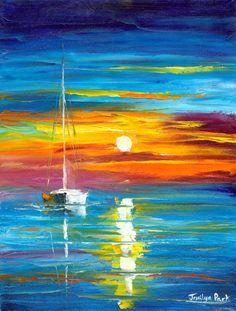 Seascape Art Print featuring the painting Lost At Sea by Jessilyn Park Landscape Art, Landscape Paintings, Sailboat Painting, Boat Art, Park Art, Seascape Paintings, Beautiful Paintings, Watercolor Art, Canvas Art