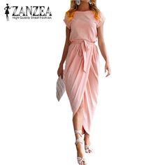 New ZANZEA Elegant Women Casual Maxi Long Shirt Dress 2017 Pleated Slim Short Sleeve Bowknot Belt Office Party Sundress Vestido