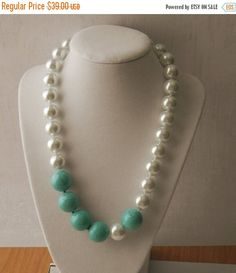 Mothers Day Sale 15% off Chunky Pearl and Turquoise Necklace
