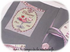 SAC à TARTE -  Tons gris, rose et vert - FAIT MAIN