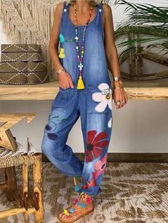 Plus size Jumpsuit Casual Jumpsuit, Denim Jumpsuit, Jumpsuit Outfit, Floral Denim, Blue Denim, Floral Lace, Denim Overall, Pantalon Long, Estilo Hippie
