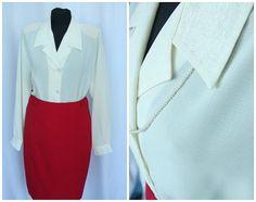 white / creamy  secretary blouse embroidered elegant  XL L long sleeve blouse large  collar work  blouse size plus  / FREE vintage SHAWL /